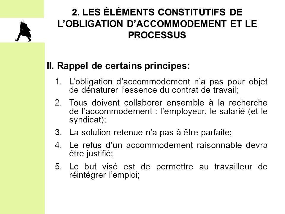 2. LES ÉLÉMENTS CONSTITUTIFS DE L'OBLIGATION D'ACCOMMODEMENT ET LE PROCESSUS II. Rappel de certains principes: 1.L'obligation d'accommodement n'a pas