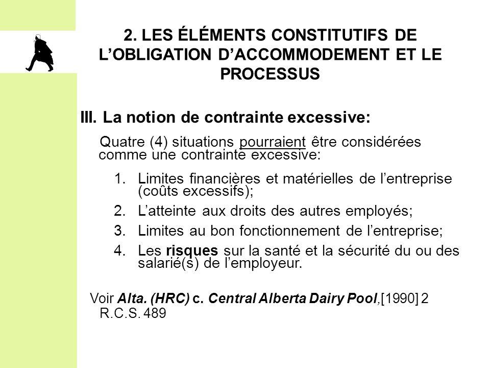 III. La notion de contrainte excessive: Quatre (4) situations pourraient être considérées comme une contrainte excessive: 1.Limites financières et mat
