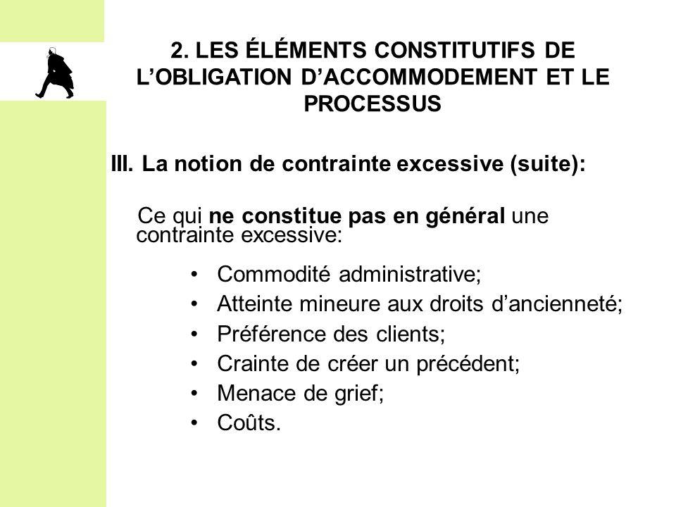 2. LES ÉLÉMENTS CONSTITUTIFS DE L'OBLIGATION D'ACCOMMODEMENT ET LE PROCESSUS III. La notion de contrainte excessive (suite): Ce qui ne constitue pas e