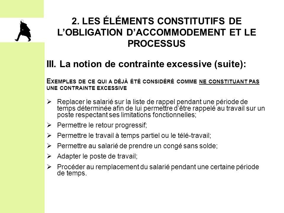 2. LES ÉLÉMENTS CONSTITUTIFS DE L'OBLIGATION D'ACCOMMODEMENT ET LE PROCESSUS III. La notion de contrainte excessive (suite): E XEMPLES DE CE QUI A DÉJ