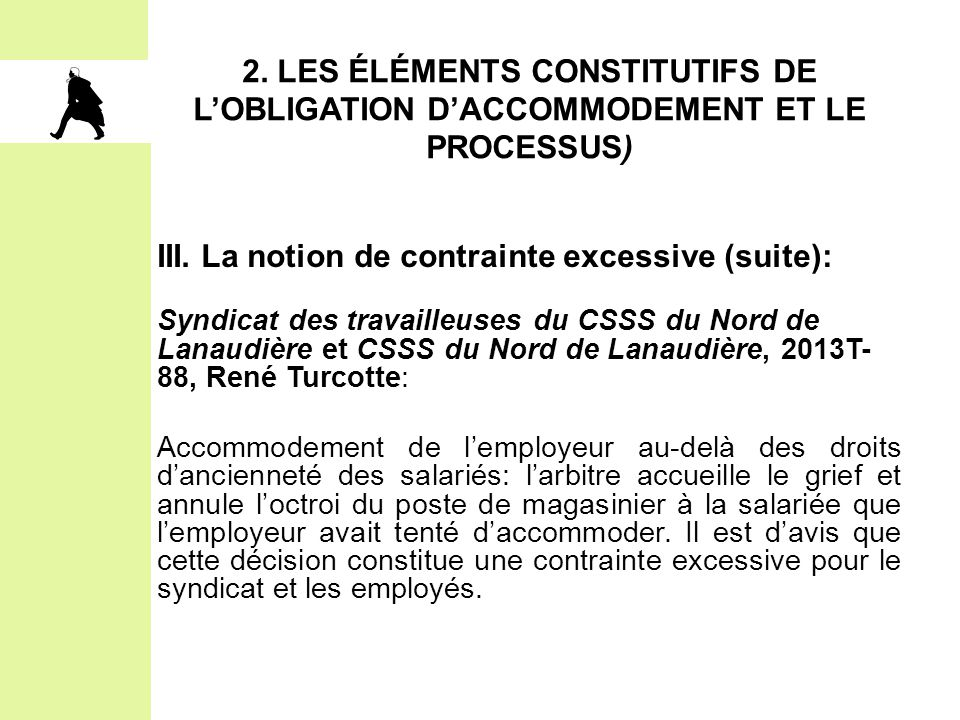 2. LES ÉLÉMENTS CONSTITUTIFS DE L'OBLIGATION D'ACCOMMODEMENT ET LE PROCESSUS) III. La notion de contrainte excessive (suite): Syndicat des travailleus