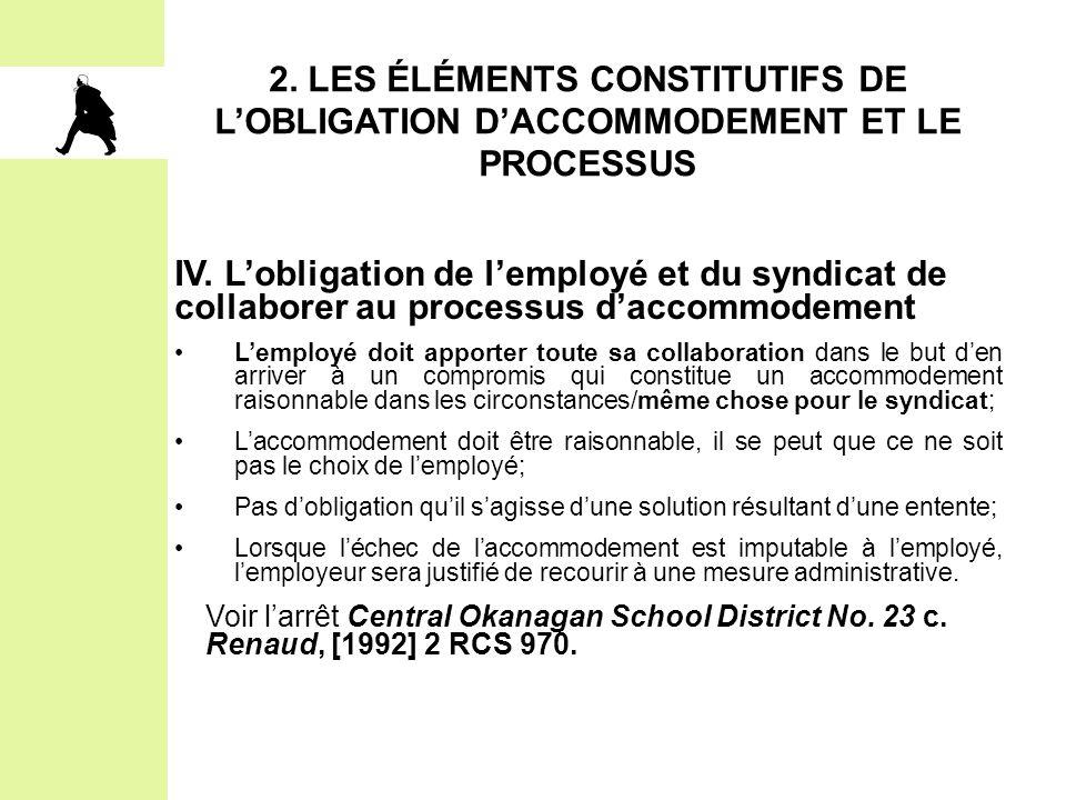 2. LES ÉLÉMENTS CONSTITUTIFS DE L'OBLIGATION D'ACCOMMODEMENT ET LE PROCESSUS IV. L'obligation de l'employé et du syndicat de collaborer au processus d