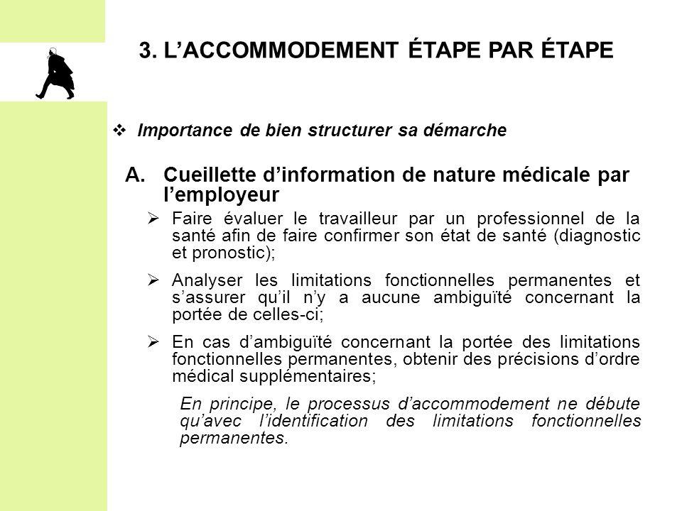 3. L'ACCOMMODEMENT ÉTAPE PAR ÉTAPE  Importance de bien structurer sa démarche A.Cueillette d'information de nature médicale par l'employeur  Faire é