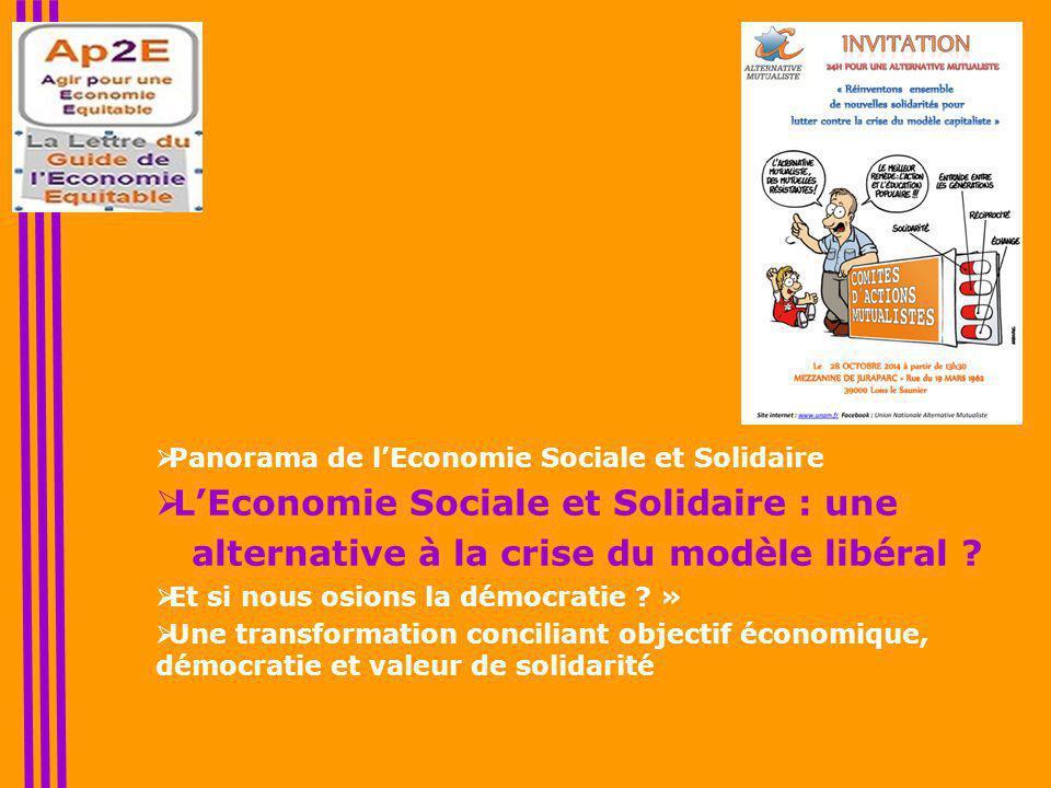  Panorama de l'Economie Sociale et Solidaire  L'Economie Sociale et Solidaire : une alternative à la crise du modèle libéral .