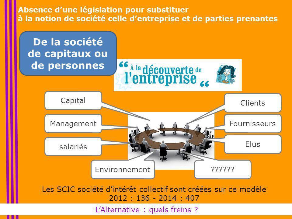 Absence d'une législation pour substituer à la notion de société celle d'entreprise et de parties prenantes L'Alternative : quels freins .