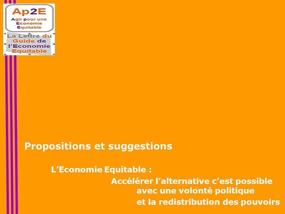 Propositions et suggestions L'Economie Equitable : Accélérer l'alternative c'est possible avec une volonté politique et la redistribution des pouvoirs