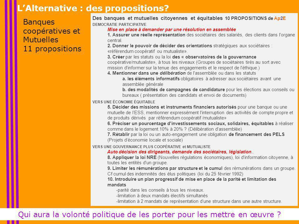 L'Alternative : des propositions.