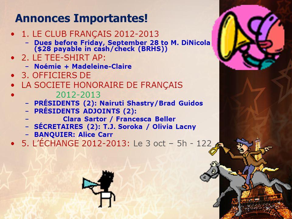 français 1 le 28 septembre 2012 ActivitéCahier I.Warm-Up : Les salutations et la politesse II.
