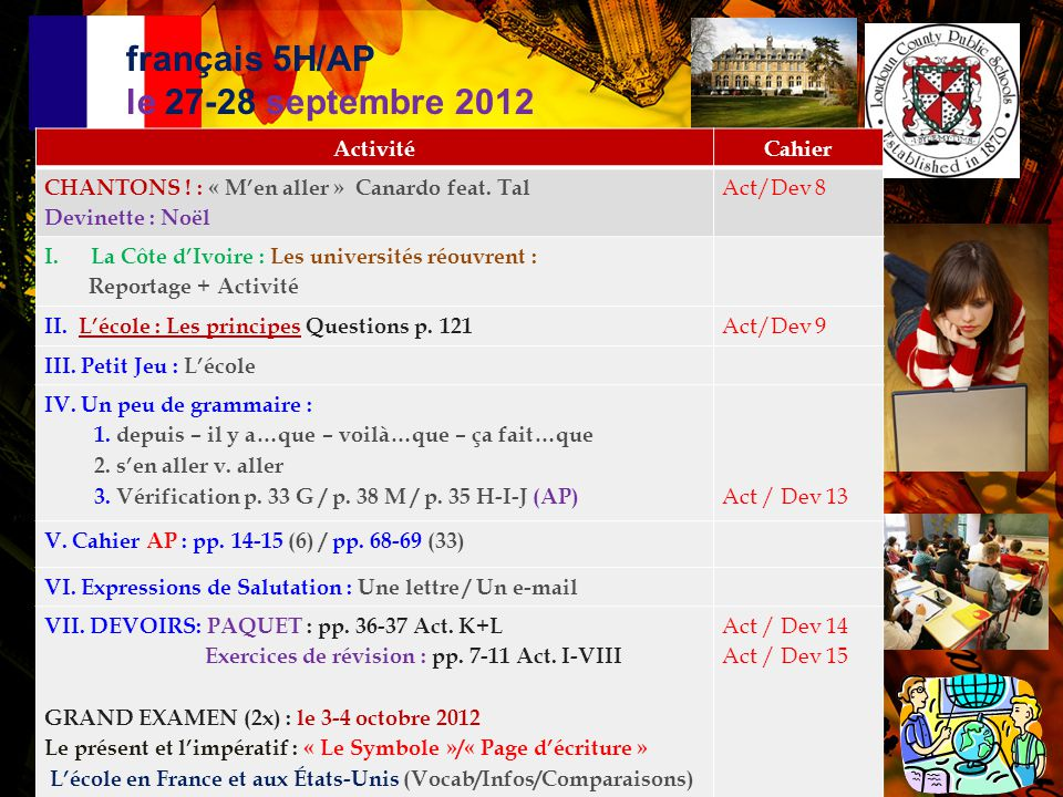 français 5H/AP: L'école  Le système éducatif en France p.