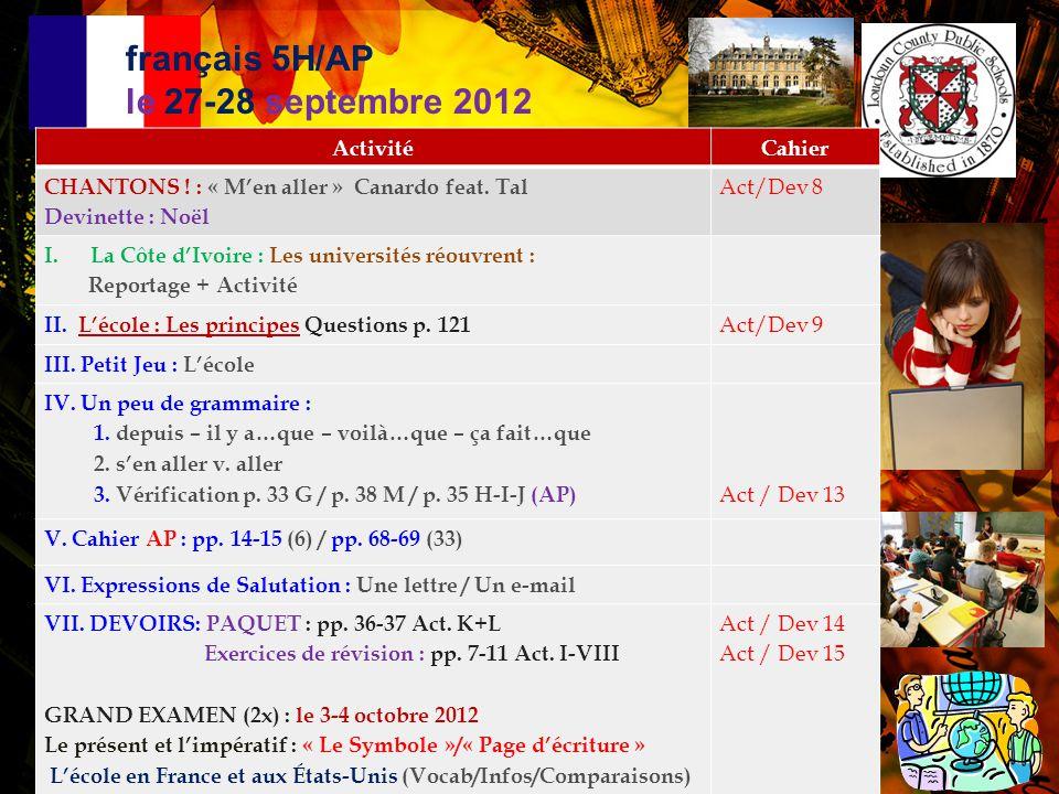 français 3 le 28 septembre 2012 ActivitéCahier CHANSON : « M'en aller » Canardo feat.