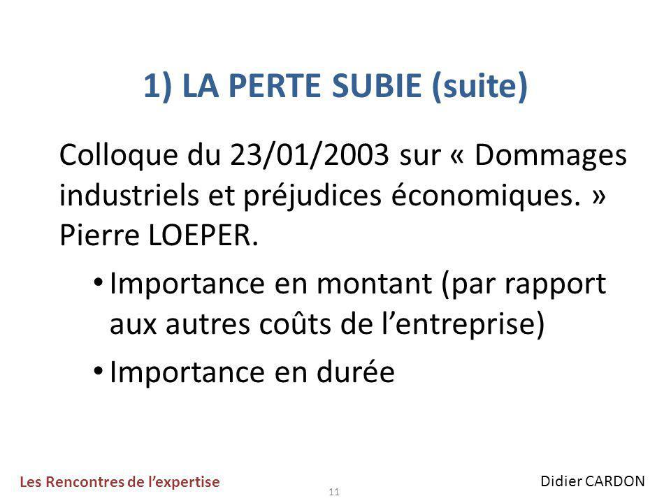 11 1) LA PERTE SUBIE (suite) Colloque du 23/01/2003 sur « Dommages industriels et préjudices économiques.