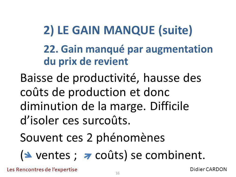 16 2) LE GAIN MANQUE (suite) 22.