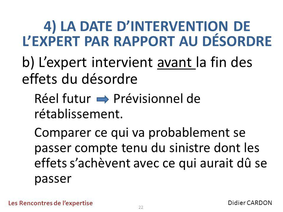 22 b) L'expert intervient avant la fin des effets du désordre Réel futur Prévisionnel de rétablissement.