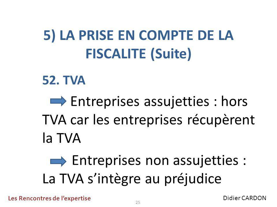 25 5) LA PRISE EN COMPTE DE LA FISCALITE (Suite) 52.