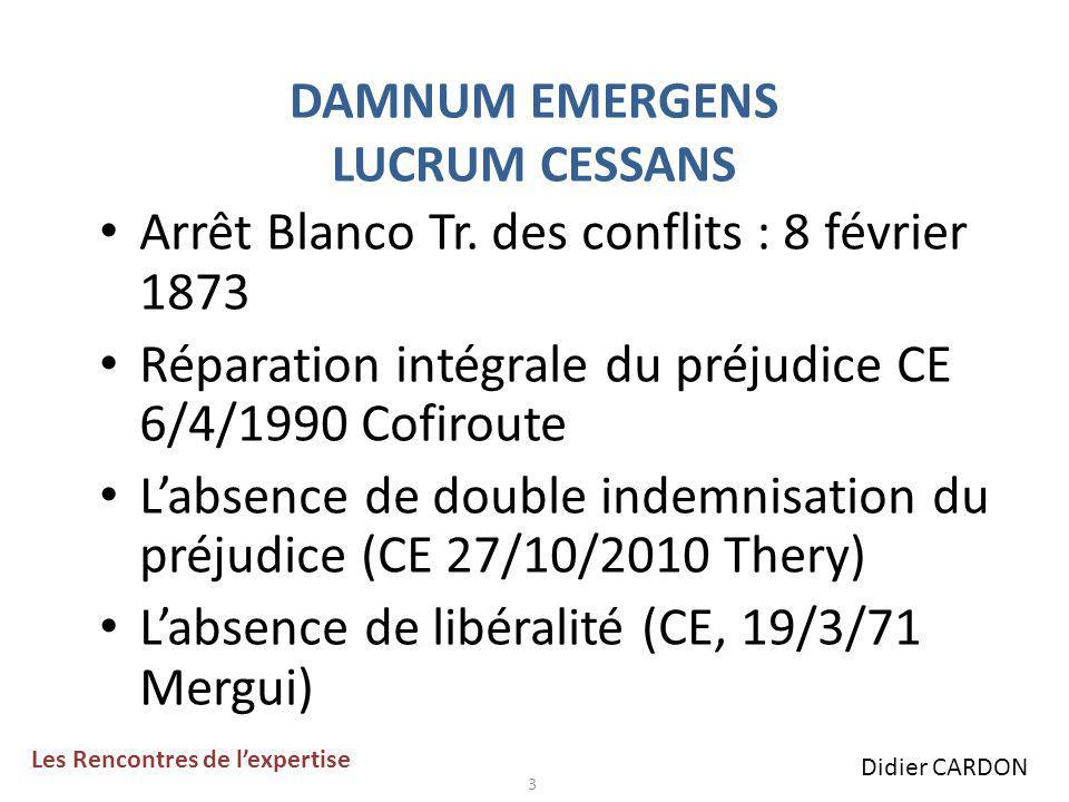 DAMNUM EMERGENS LUCRUM CESSANS Arrêt Blanco Tr.