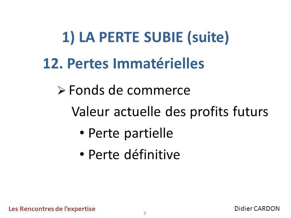 8 1) LA PERTE SUBIE (suite) 12.