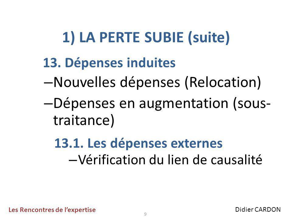 10 1) LA PERTE SUBIE (suite) 13.2.