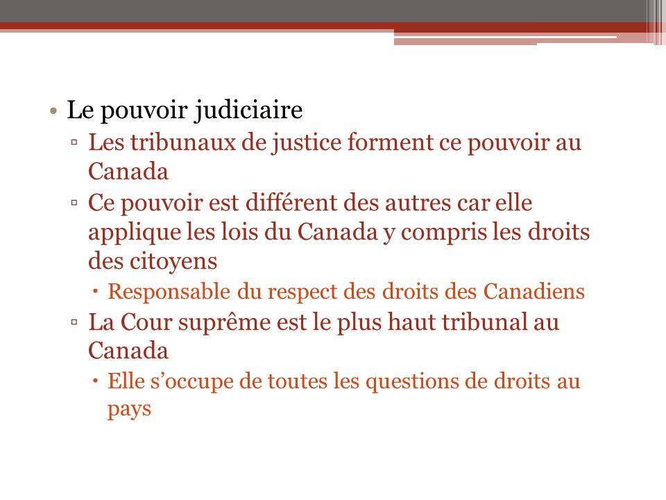 Le pouvoir judiciaire ▫Les tribunaux de justice forment ce pouvoir au Canada ▫Ce pouvoir est différent des autres car elle applique les lois du Canada
