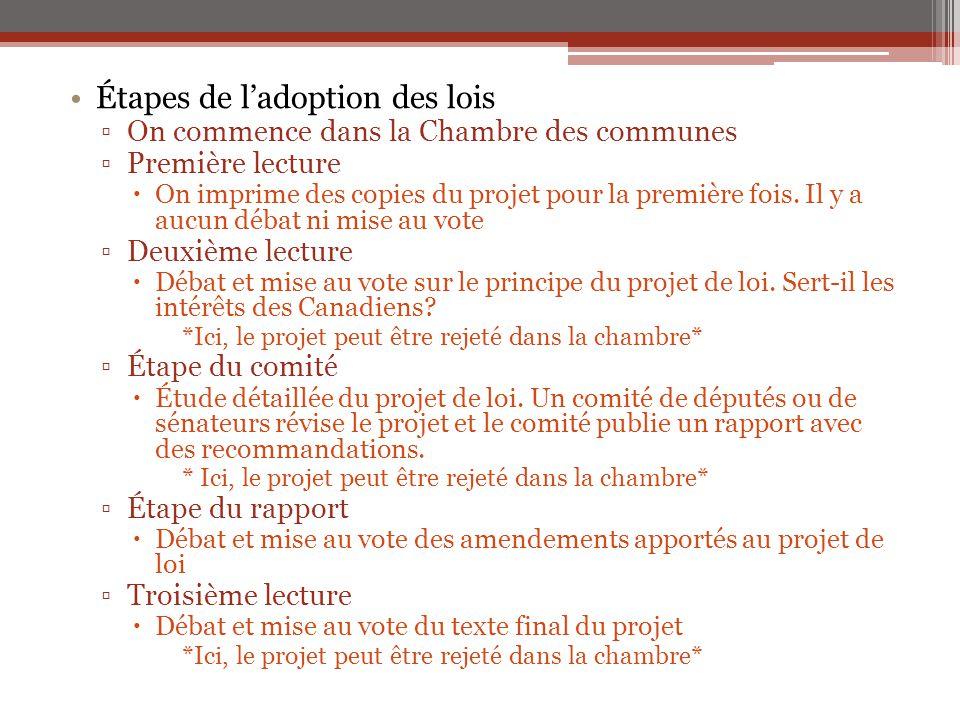 Étapes de l'adoption des lois ▫On commence dans la Chambre des communes ▫Première lecture  On imprime des copies du projet pour la première fois. Il