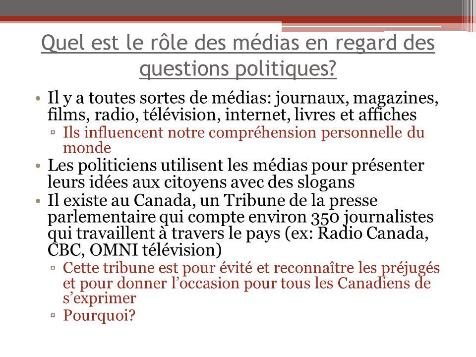 Quel est le rôle des médias en regard des questions politiques? Il y a toutes sortes de médias: journaux, magazines, films, radio, télévision, interne