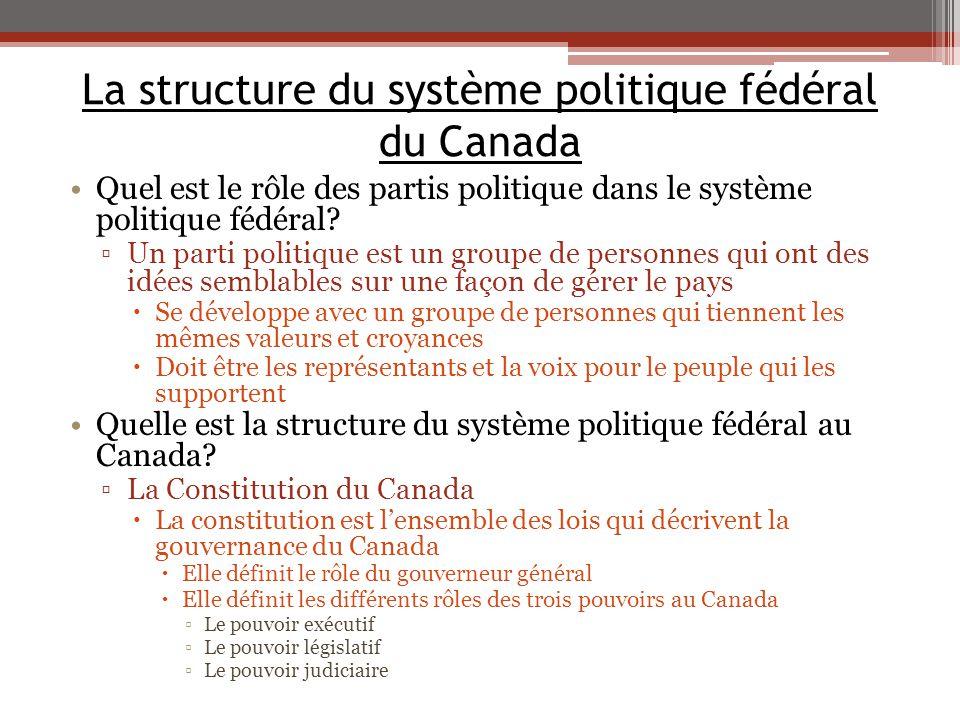 La structure du système politique fédéral du Canada Quel est le rôle des partis politique dans le système politique fédéral? ▫Un parti politique est u