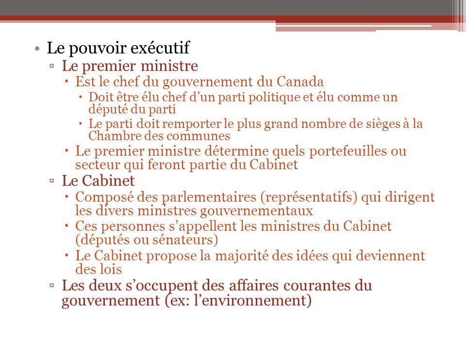 Le pouvoir exécutif ▫Le premier ministre  Est le chef du gouvernement du Canada  Doit être élu chef d'un parti politique et élu comme un député du p
