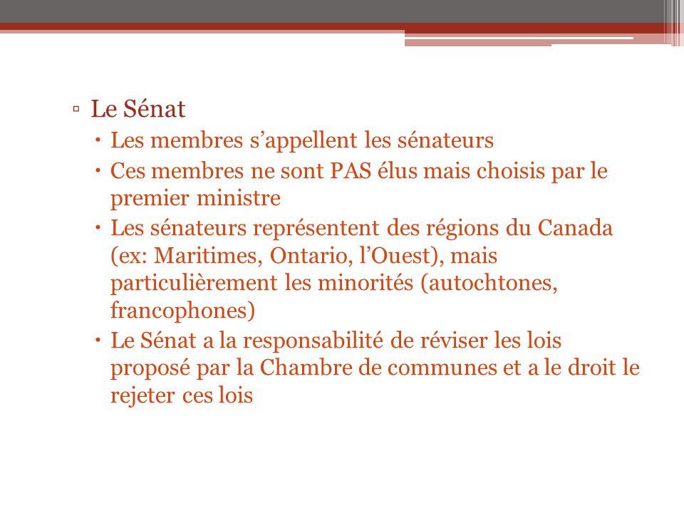 ▫Le Sénat  Les membres s'appellent les sénateurs  Ces membres ne sont PAS élus mais choisis par le premier ministre  Les sénateurs représentent des