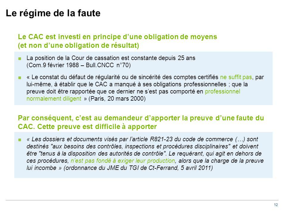 12 Le régime de la faute Le CAC est investi en principe d'une obligation de moyens (et non d'une obligation de résultat) ■La position de la Cour de ca