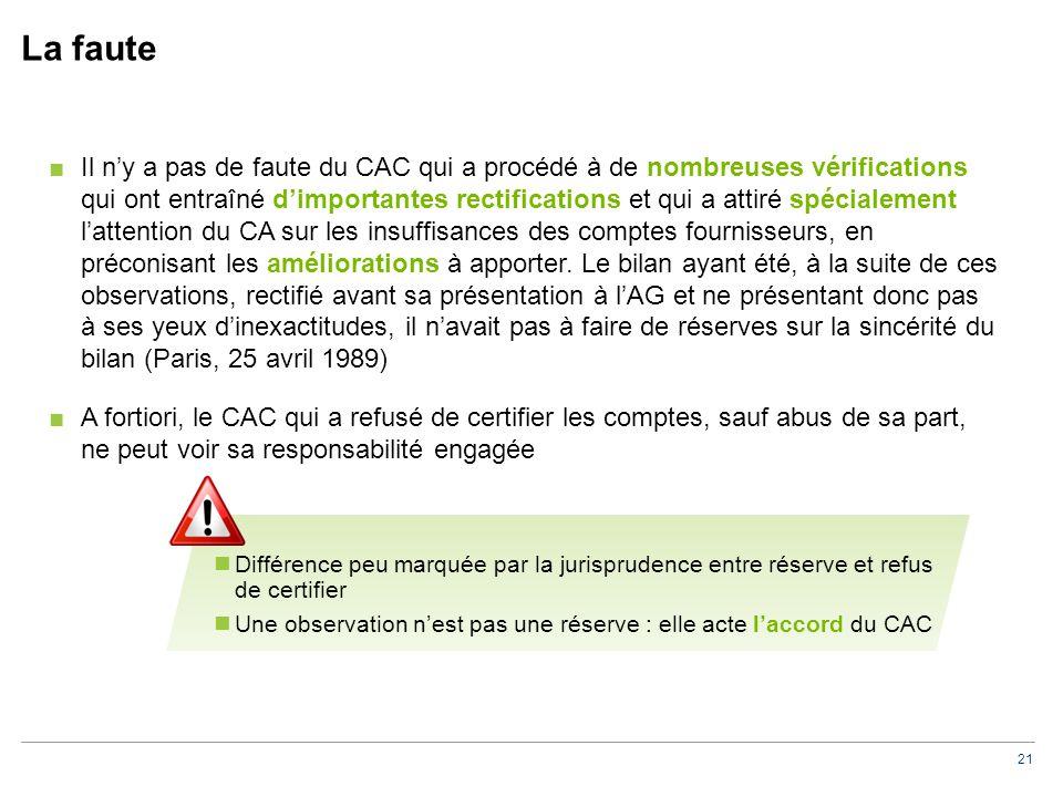 21 La faute ■Il n'y a pas de faute du CAC qui a procédé à de nombreuses vérifications qui ont entraîné d'importantes rectifications et qui a attiré spécialement l'attention du CA sur les insuffisances des comptes fournisseurs, en préconisant les améliorations à apporter.
