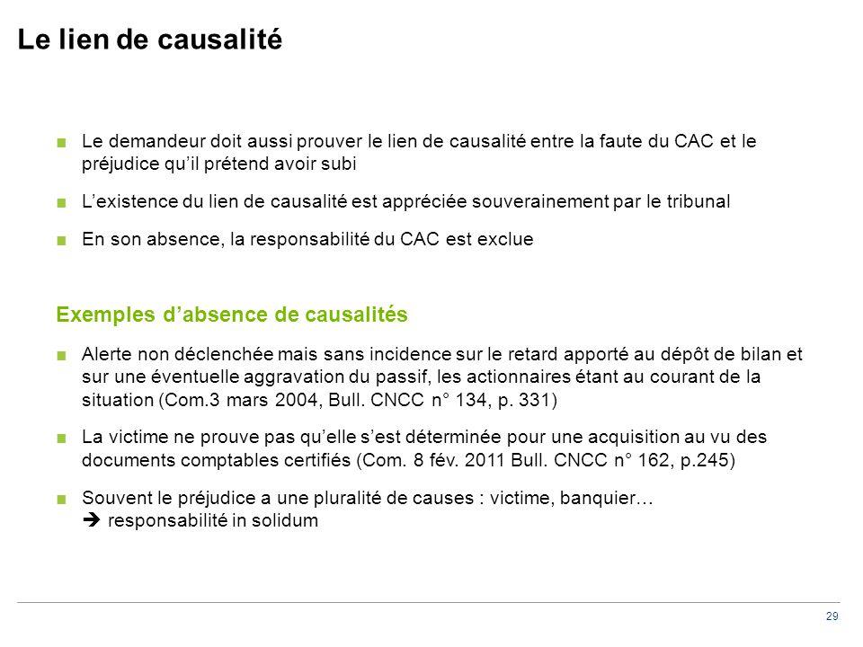 29 Le lien de causalité ■Le demandeur doit aussi prouver le lien de causalité entre la faute du CAC et le préjudice qu'il prétend avoir subi ■L'existe