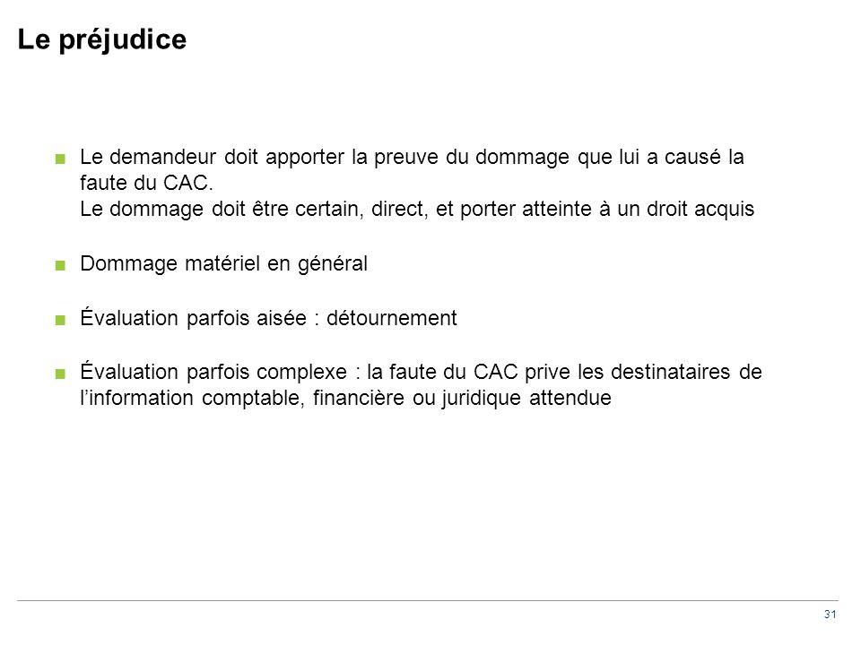 31 Le préjudice ■Le demandeur doit apporter la preuve du dommage que lui a causé la faute du CAC. Le dommage doit être certain, direct, et porter atte