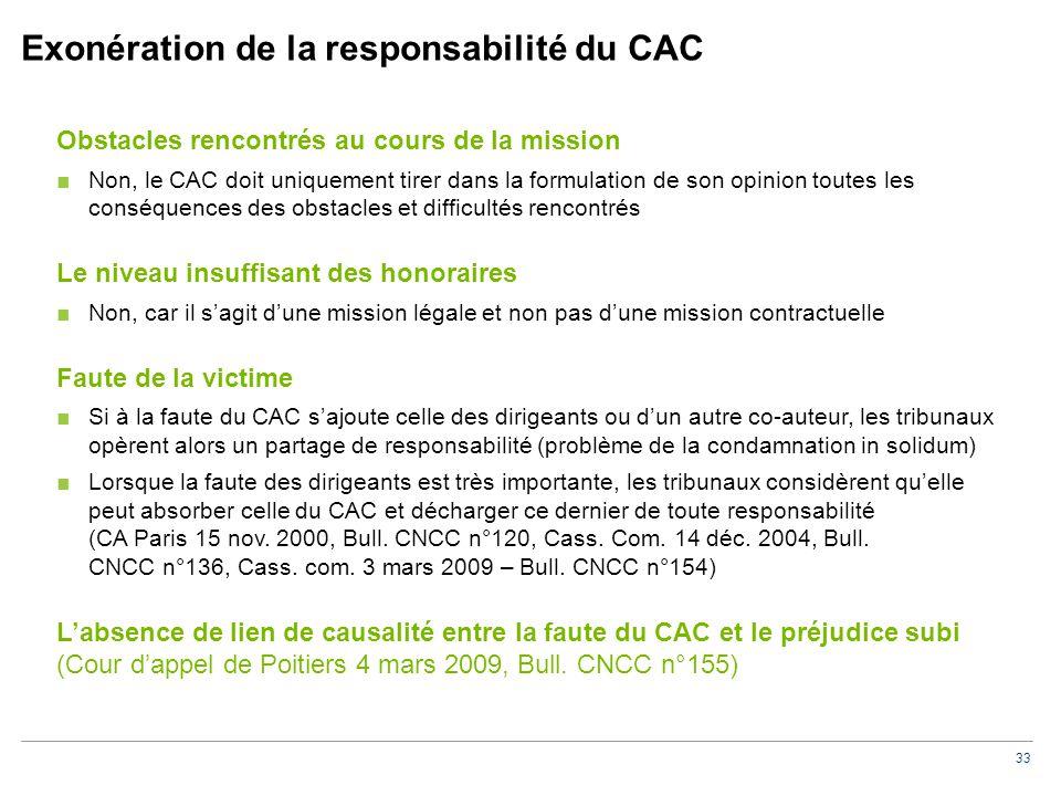 33 Exonération de la responsabilité du CAC Obstacles rencontrés au cours de la mission ■Non, le CAC doit uniquement tirer dans la formulation de son o