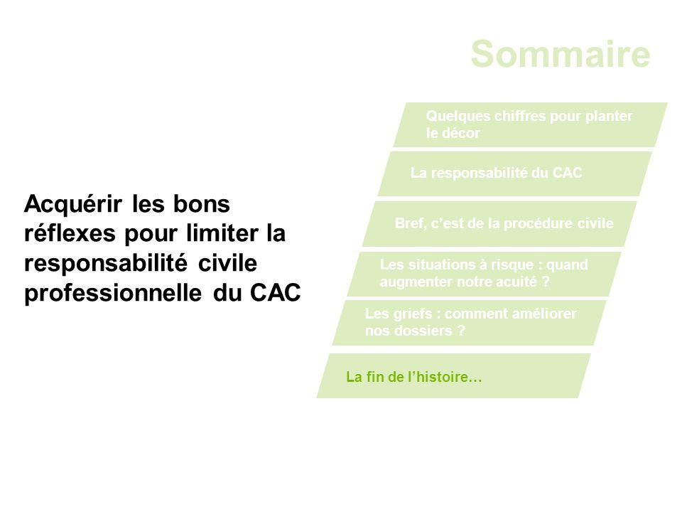 Acquérir les bons réflexes pour limiter la responsabilité civile professionnelle du CAC Sommaire Quelques chiffres pour planter le décor La responsabi