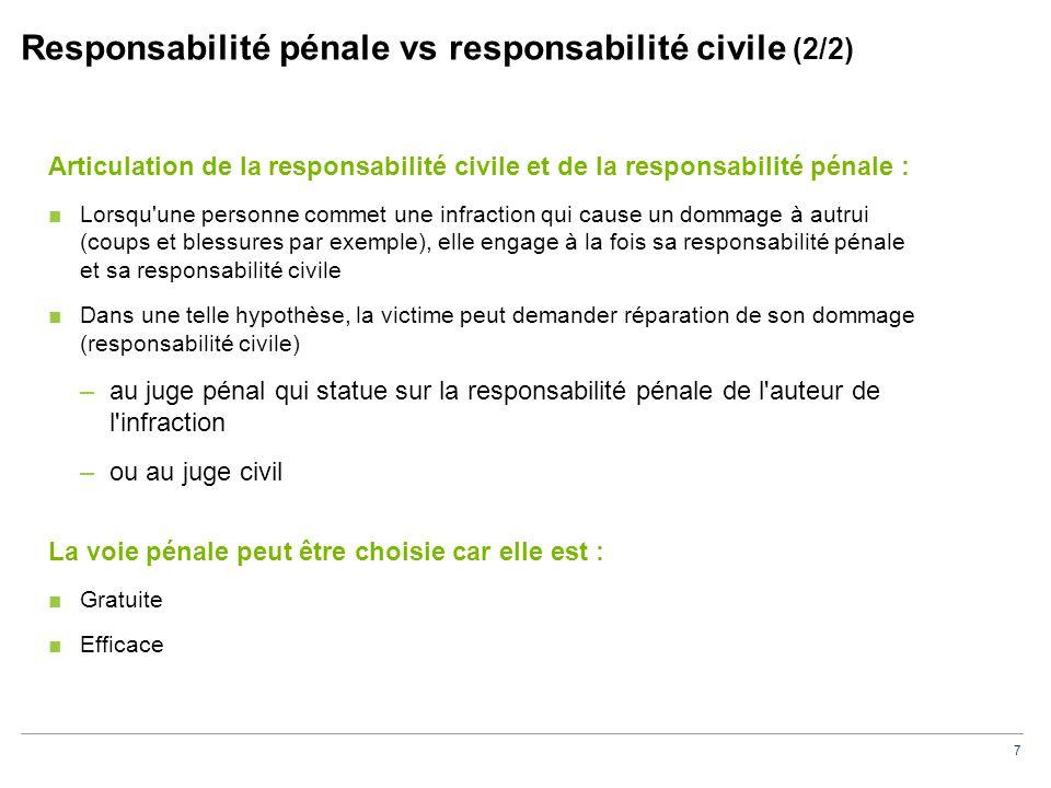 7 Responsabilité pénale vs responsabilité civile (2/2) Articulation de la responsabilité civile et de la responsabilité pénale : ■Lorsqu'une personne