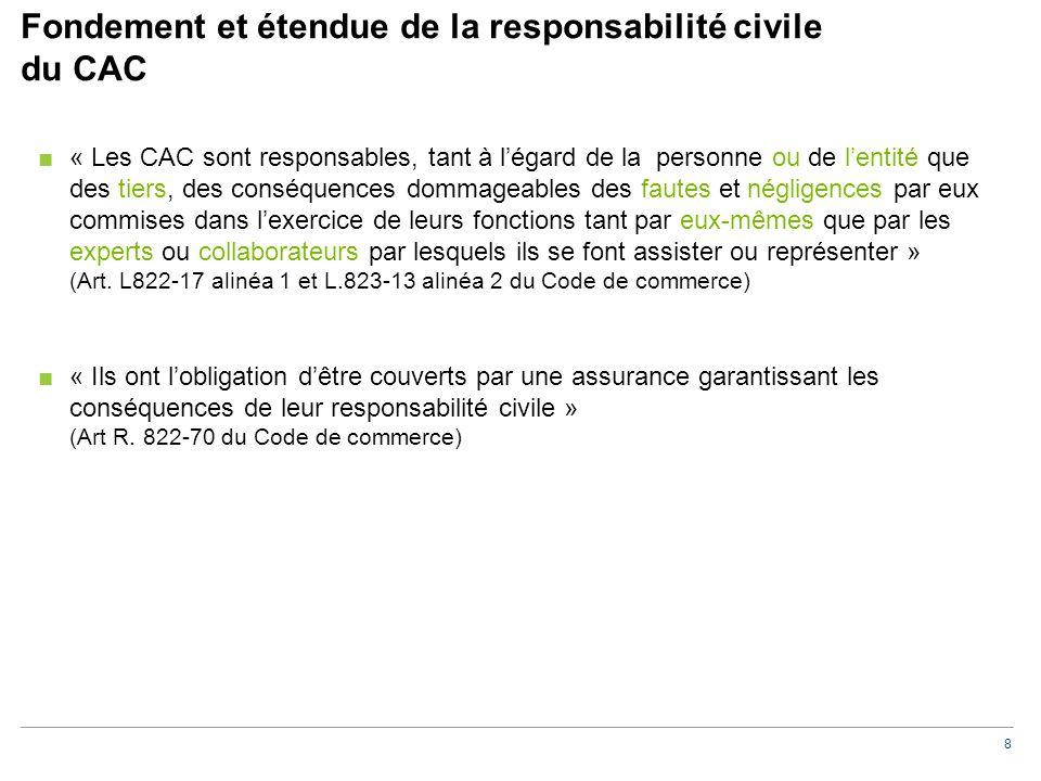 8 Fondement et étendue de la responsabilité civile du CAC ■« Les CAC sont responsables, tant à l'égard de la personne ou de l'entité que des tiers, de