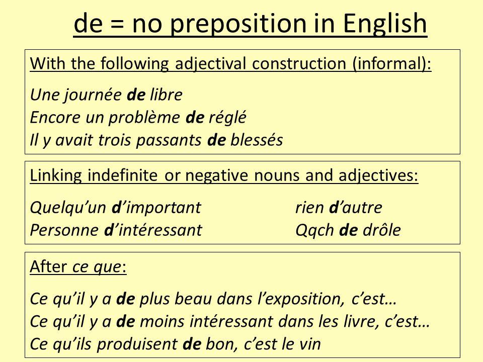 With the following adjectival construction (informal): Une journée de libre Encore un problème de réglé Il y avait trois passants de blessés de = no p