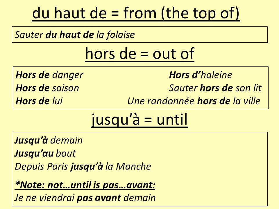 Sauter du haut de la falaise du haut de = from (the top of) Hors de dangerHors d'haleine Hors de saisonSauter hors de son lit Hors de luiUne randonnée