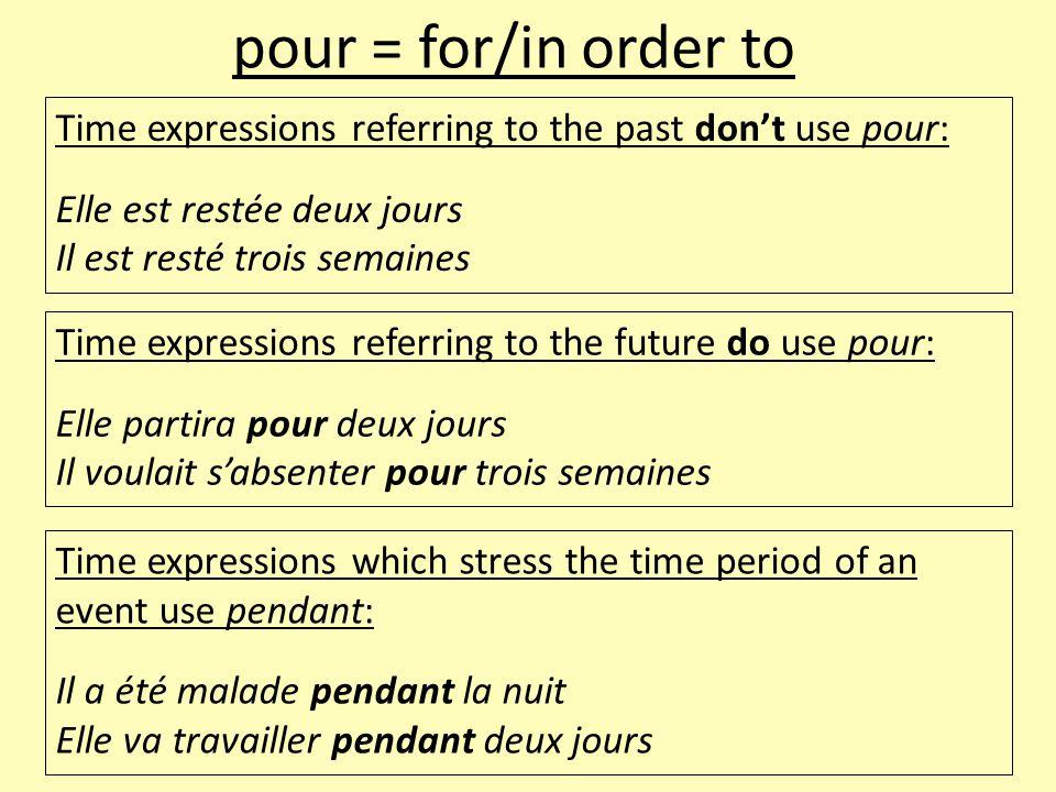 Time expressions referring to the past don't use pour: Elle est restée deux jours Il est resté trois semaines pour = for/in order to Time expressions