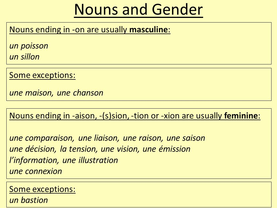 Nouns and Gender Nouns ending in -on are usually masculine: un poisson un sillon Some exceptions: une maison, une chanson Nouns ending in -aison, -(s)