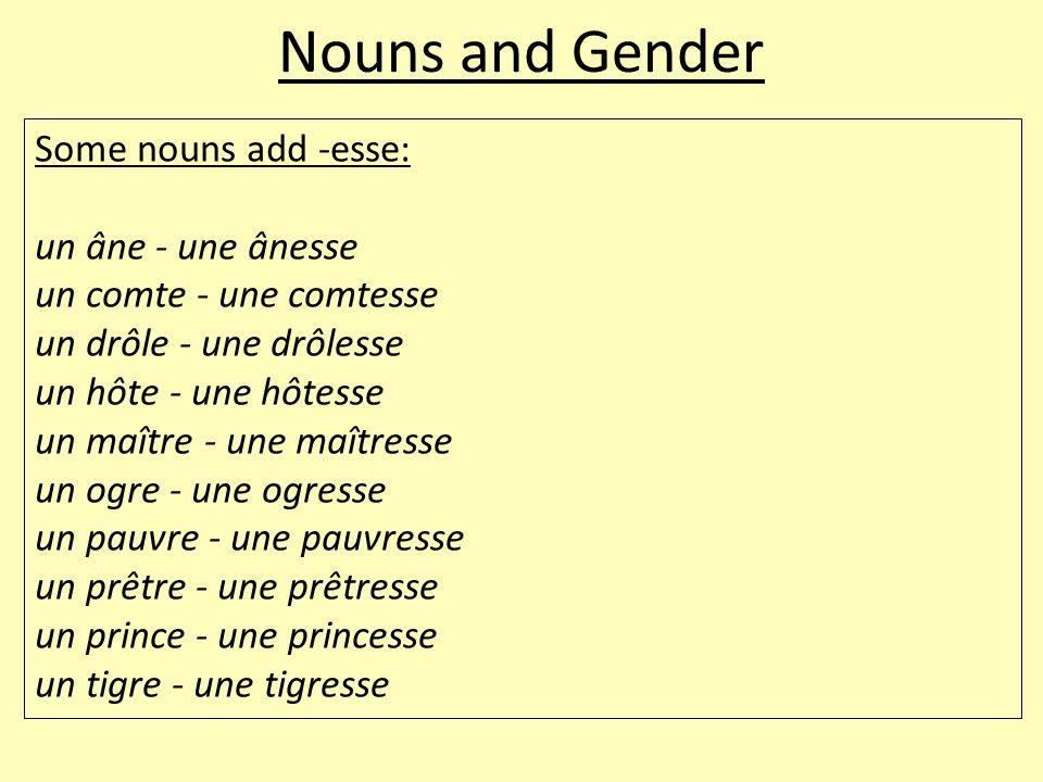 Nouns and Gender Some nouns add -esse: un âne - une ânesse un comte - une comtesse un drôle - une drôlesse un hôte - une hôtesse un maître - une maîtresse un ogre - une ogresse un pauvre - une pauvresse un prêtre - une prêtresse un prince - une princesse un tigre - une tigresse