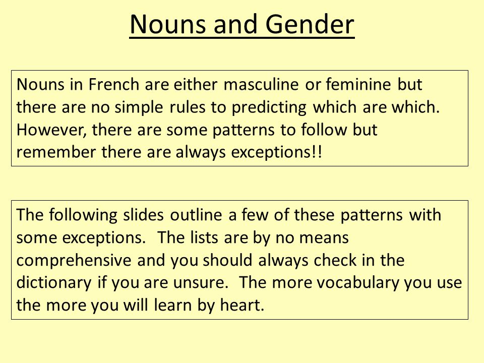 Nouns and Gender Nouns in French are either masculine or feminine but there are no simple rules to predicting which are which. However, there are some