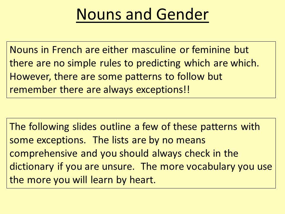 Nouns and Gender Many nouns whose singular written form ends in a consonant are masculine: -c: un franc, un lac, le public etc.