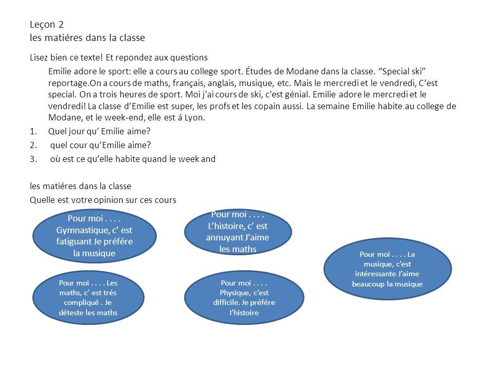 Compléte les bulles aec le vocabulaire sur les matiéres dans la classe les matiéres dans la classe La gèographie Le français