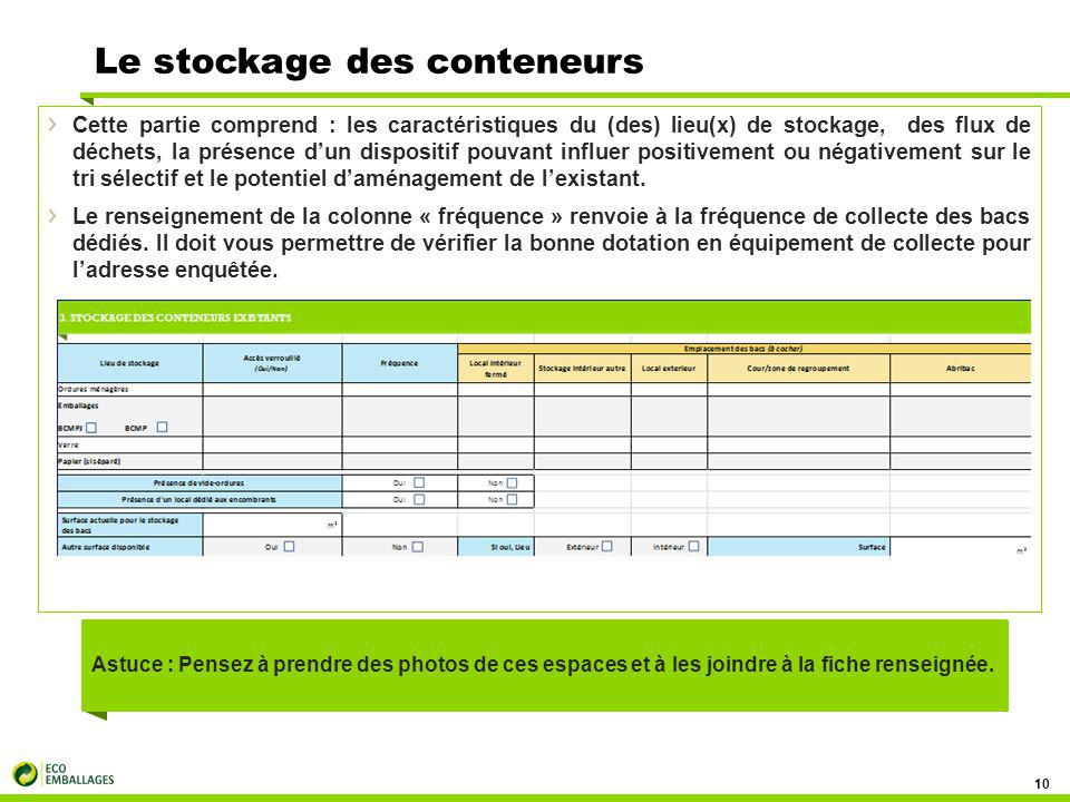 Le stockage des conteneurs 10 Cette partie comprend : les caractéristiques du (des) lieu(x) de stockage, des flux de déchets, la présence d'un disposi