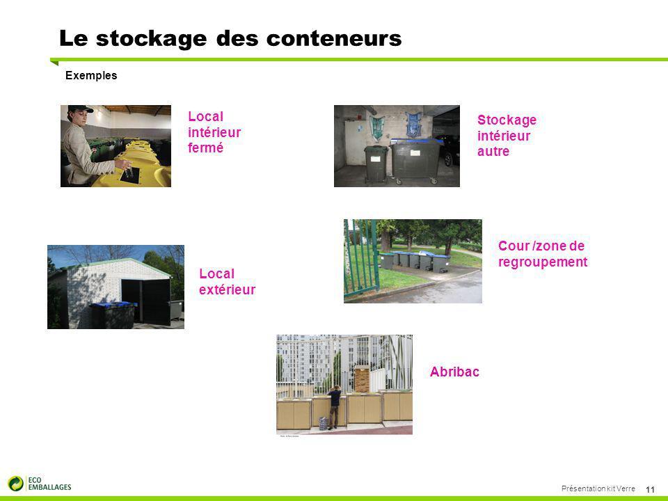 Le stockage des conteneurs Exemples Présentation kit Verre 11 Local intérieur fermé Stockage intérieur autre Local extérieur Cour /zone de regroupemen