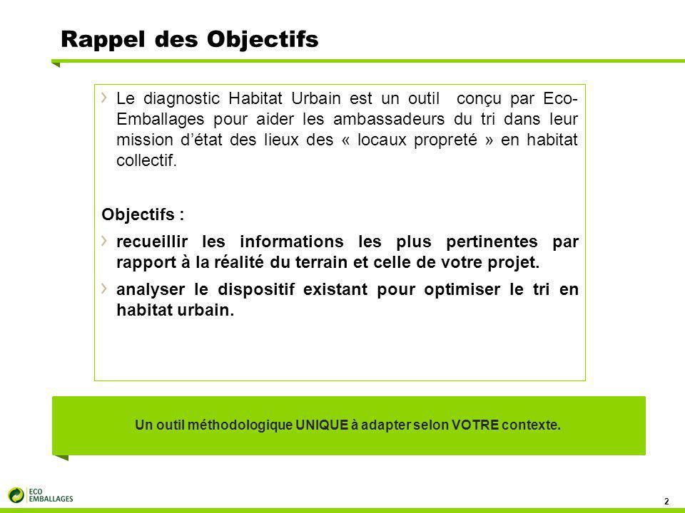 Rappel des Objectifs Le diagnostic Habitat Urbain est un outil conçu par Eco- Emballages pour aider les ambassadeurs du tri dans leur mission d'état des lieux des « locaux propreté » en habitat collectif.