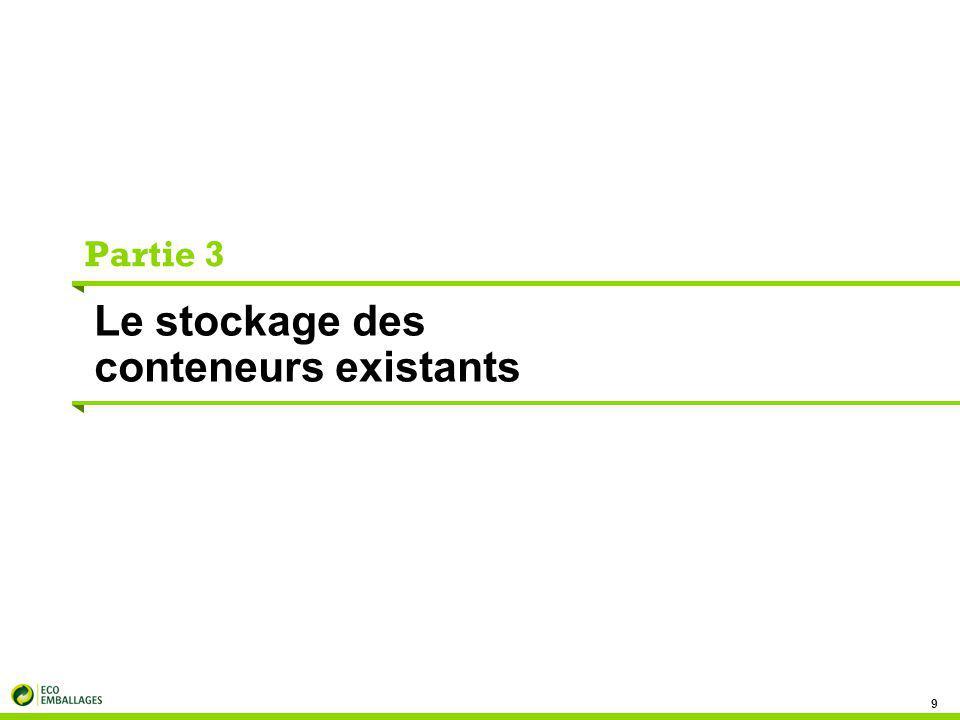 Le stockage des conteneurs 10 Cette partie comprend : les caractéristiques du (des) lieu(x) de stockage, des flux de déchets, la présence d'un dispositif pouvant influer positivement ou négativement sur le tri sélectif et le potentiel d'aménagement de l'existant.