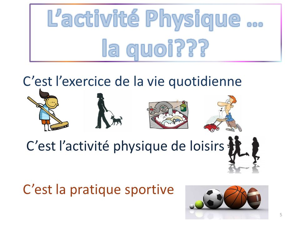 C'est l'exercice de la vie quotidienne C'est l'activité physique de loisirs C'est la pratique sportive 5
