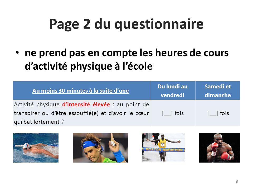 ne prend pas en compte les heures de cours d'activité physique à l'école Page 2 du questionnaire Au moins 30 minutes à la suite d'une Du lundi au vend