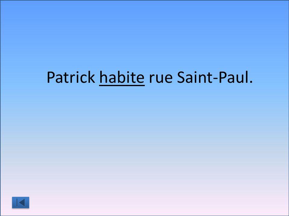 Patrick habite rue Saint-Paul.